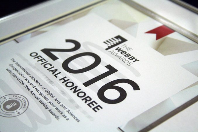 Image of a 2016 Webby Nominee certificate