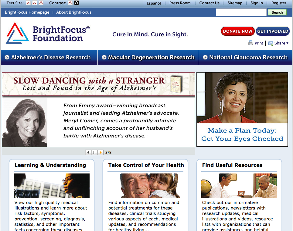 An image of the old BrightFocus home page