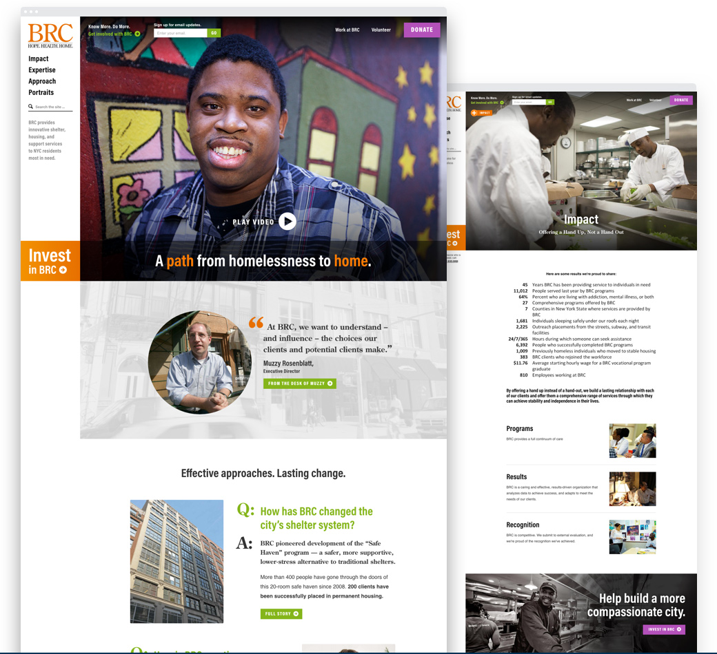 Image of the redesigned BRC home page and interior page