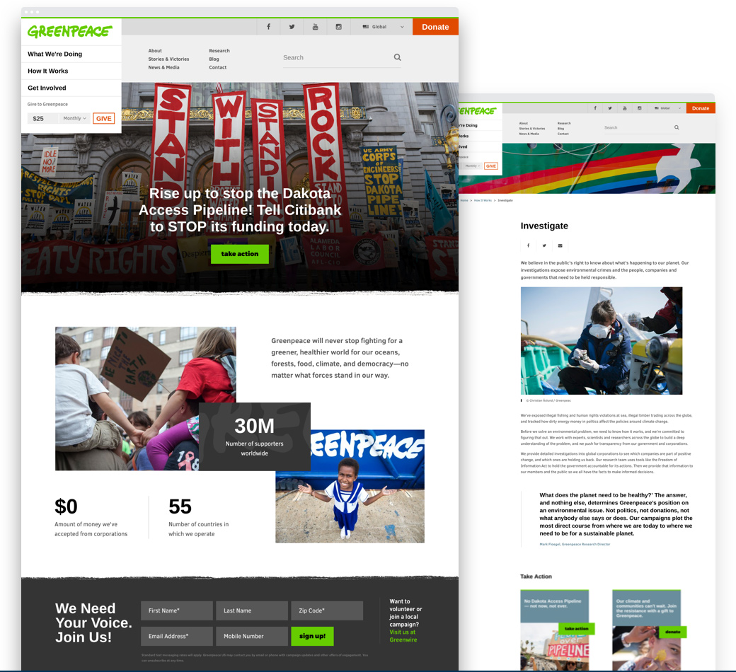 Images of the redesigned home page of Greenpeace USA