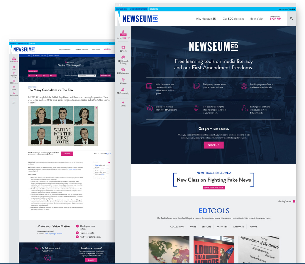Image of the redesigned NewseumED home page and tools page
