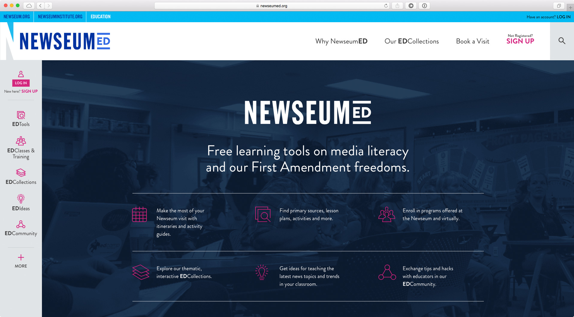 A screenshot of the NewseumEd home page after the redesign.