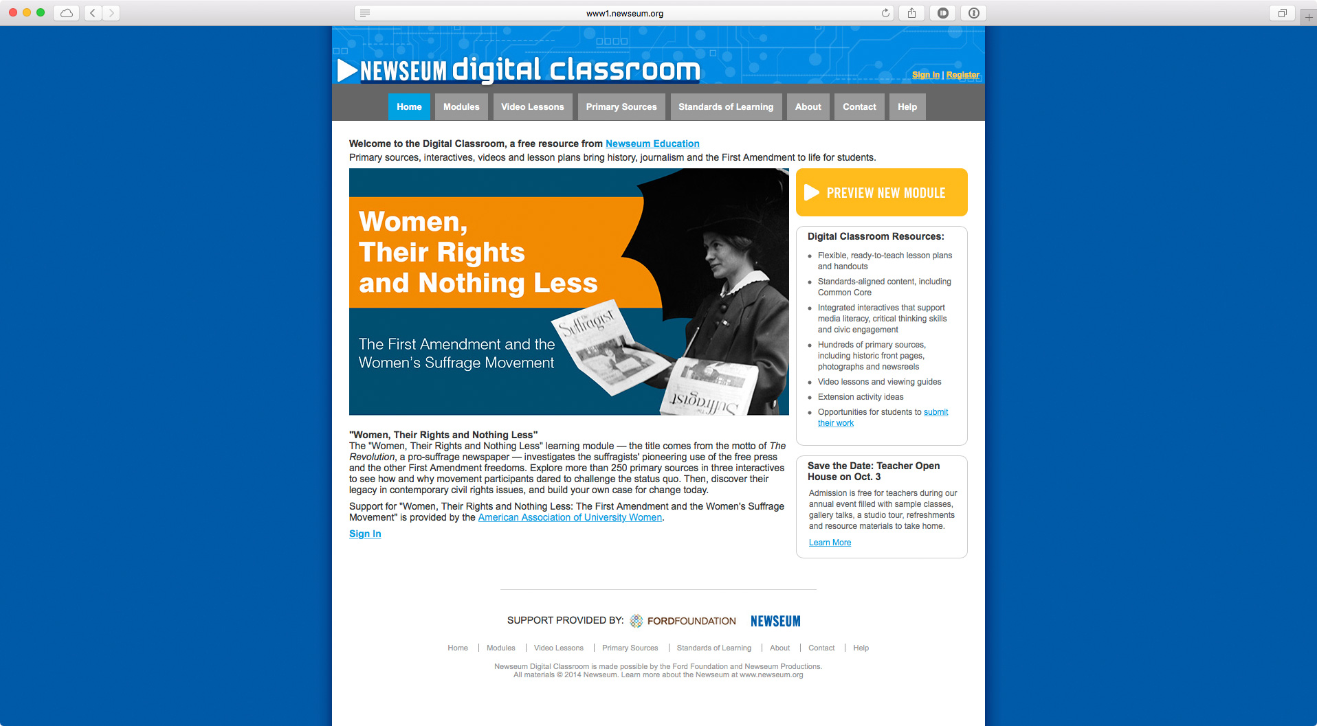 A screenshot of the Digital Classroom prior to the redesign.